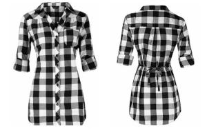 Dorothy Perkins black and white check shirt, $40