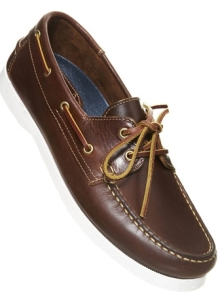 Brown leather boat shoes - $90